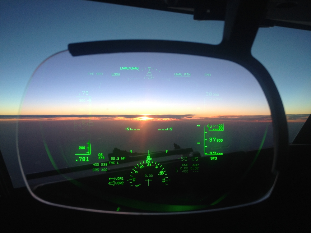 Africa is known for it's beautiful sunsets. Here a view through the captain's Head Up Display. (HUD)