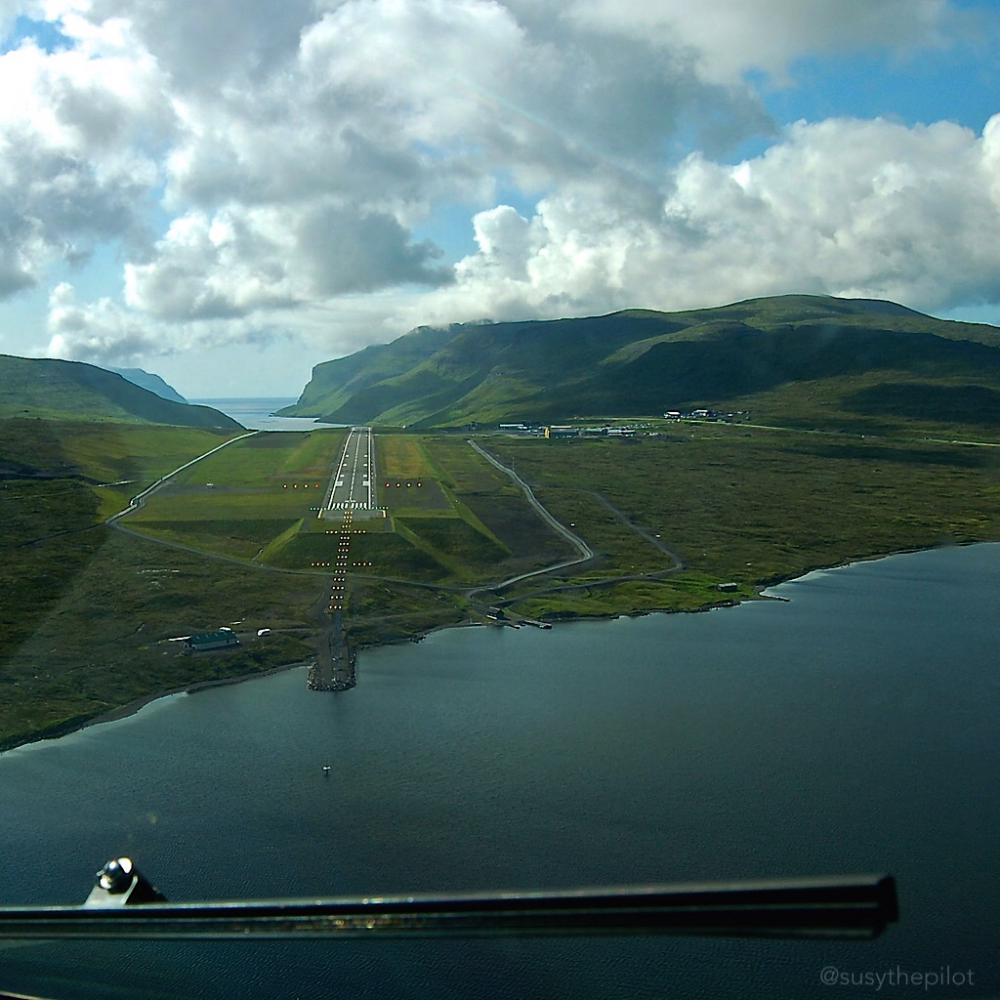 Waterfall approach Vagar airport, Faroe Islands