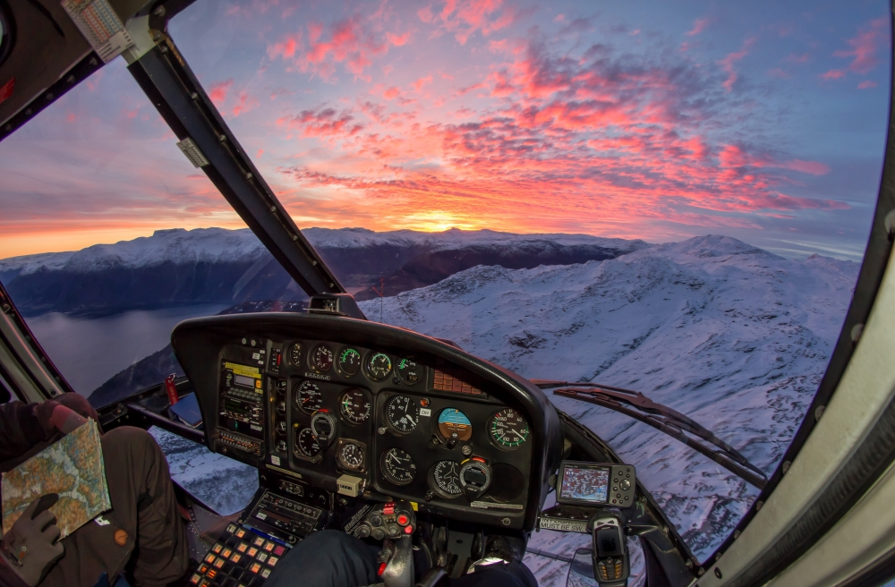 11. One of many beautiful sunrises this winter. This is the AS350B2, without the VEMD screen found in newer models.