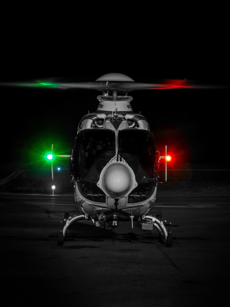 14. A Norsk Luftambulanse (Norwegian air ambulance) EC135 helicopter doing NVG training.