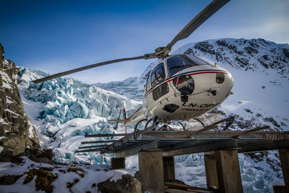 7. On the helipad at Bondhusbreen. A tricky place to land because of katabatic winds from the glacier.